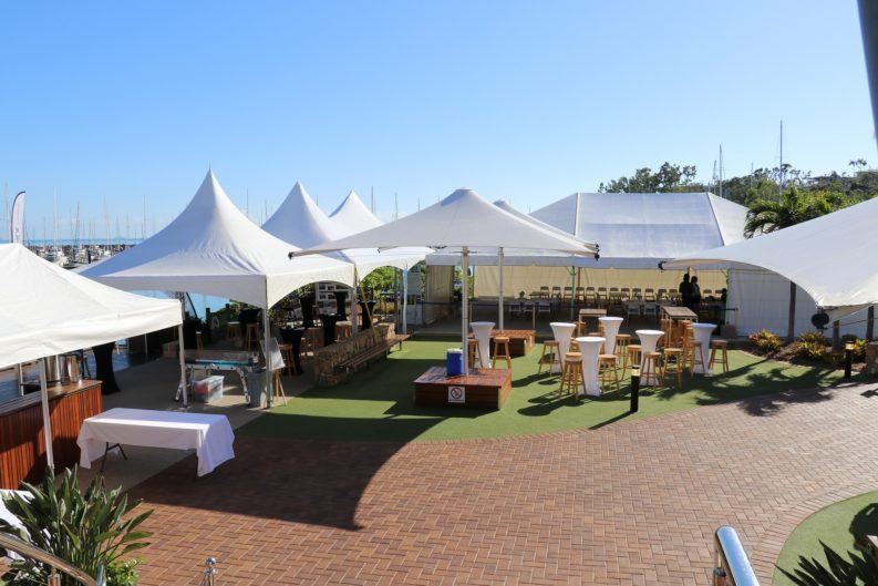 Business Events Marquee on the foreshore at Lure