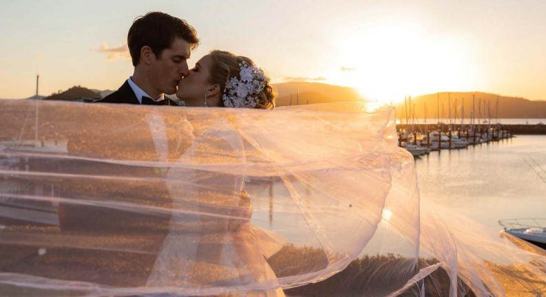 Sunset wedding at Abell Point Marina and Lure Whitsunday